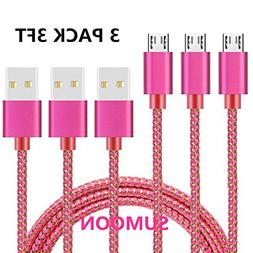 SUMOON Micro USB Cable, 3PACK 3FT Nylon Braided Extra Durabl
