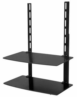 Mount-It! TV Wall Mount Shelf | Two Tempered Glass Shelves |