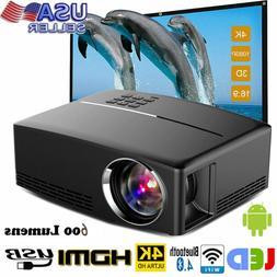Multimedia 600 Lumens HD WiFi bluetooth 3D 4K LED Home Cinem