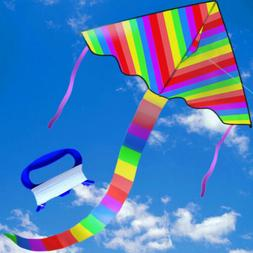 NEW Rainbow Delta Kite 60inch Kites For Kids Best Easy Flyer