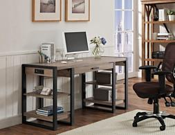 New Home Office 60 Inch Wide Computer Desk in Driftwood Fini