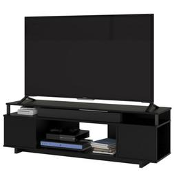 "Ameriwood Home Parsons 65"" Electric Fireplace TV Stand in Bl"
