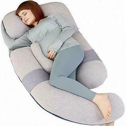 MOON PINE 60 inch Pregnancy Pillow, Detachable U Grey&blue-v