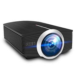 Video Projector, MEER 1600 Lumens 130'' Wide Screen LED Port