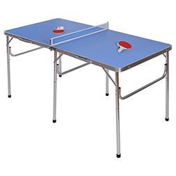 "Goplus 60"" Portable Table Tennis Table Folding Ping Pong Tab"