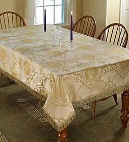 Violet Linen Prestige Damask Design Oblong/Rectangle Tablecl