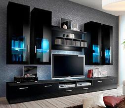 Presto 5 - black modern entertainment center for 65 inch tv