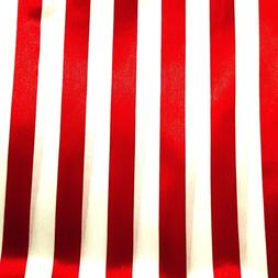 """Red and White Striped Satin Fabric 1 Inch Stripe 60"""" By The"""