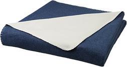 AmazonBasics Reversible Fleece Blanket - Throw, Navy/Cream