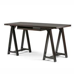 Simpli Home Sawhorse Solid Wood Desk, Dark Chestnut Brown