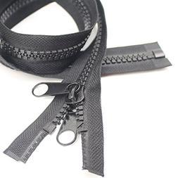 YaHoGa 2PCS #10 60 Inch Separating Large Plastic Zippers Bla