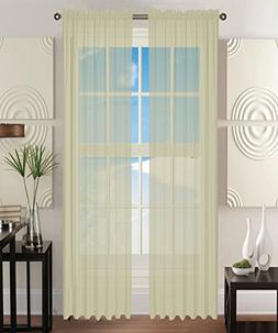 "Elegant Comfort 2-Piece SHEER Window CURTAIN/PANEL with 2"" R"
