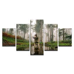 siberian husky dog 5 panel canvas wall