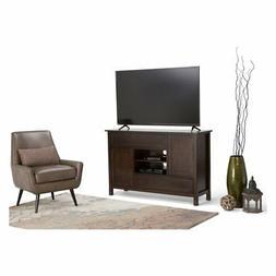 "Simpli Home Sidney Solid Wood 54"" Tall TV Stand, Dark Chestn"