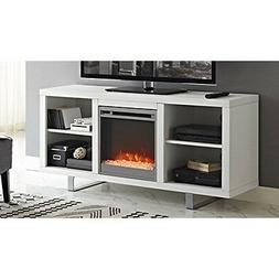 """WE Furniture 58"""" Simple Modern Fireplace TV Console - White"""