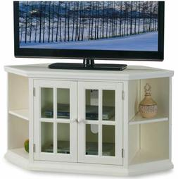 Smart TV Stand Small Corner 4K Entertainment Center White Cu