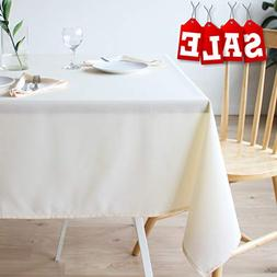 Stain Resistant Ivory Tablecloth Polyester Beige Table Cover