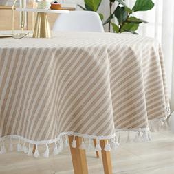 ColorBird Stripe Tassel Tablecloth Cotton Linen Dust-Proof T