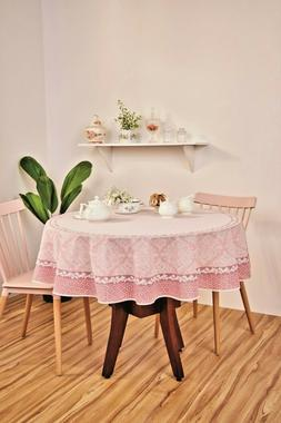 """Tablecloth Pink or Beige / Taupe Printed Fabric. Round 60"""","""