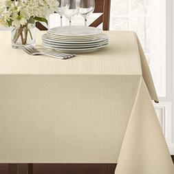 "Benson Mills Textured Fabric Tablecloth, Flax, 60"" x 104"" Re"