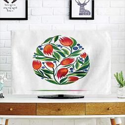 LCD TV Cover Lovely,Watercolor Flower,Easter Egg with Tulip