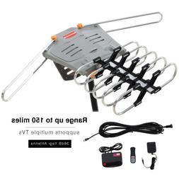 150 Miles TV HDTV 1080P Outdoor Antenna Amplified Motorized