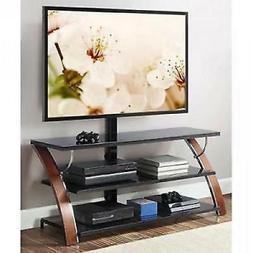 TV Stand With Swinging Mount Storage Holder Modern Entertain