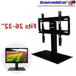 Universal Tabletop TV Stand Pedestal Base Swivel Mount for 2