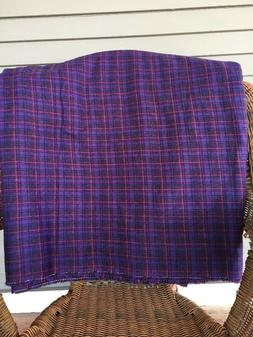 Vintage 1960's 70's Plaid Wool Fabric 60 Inches Wide New Old