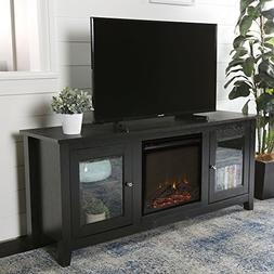 New 58 Inch Wide Fireplace Television Stand in Black Finish