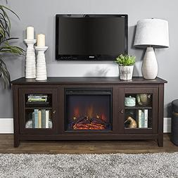 New 58 Inch Wide Television Stand with Fireplace in Espresso