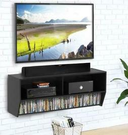 Wood Floating LED TV Stand Wall Mount Entertainment Center C