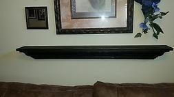 Wood Shelf Fireplace Mantle Mantel Distressed Rustic Black S
