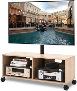 Wood TV Stand with Wheels and Swivel Mount for 32 to 65 inch