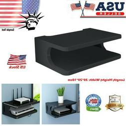 Wooden Floating Wall Mount TV Component Storage Rack With 2